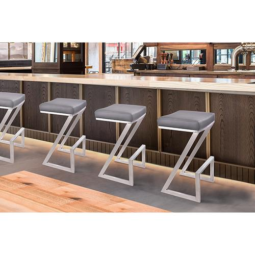 """Armen Living Atlantis 30"""" Backless Barstool in Brushed Stainless Steel finish with Gray Pu upholstery"""