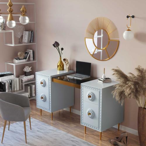 Tov Furniture - Bovey Light Grey Lacquer Desk