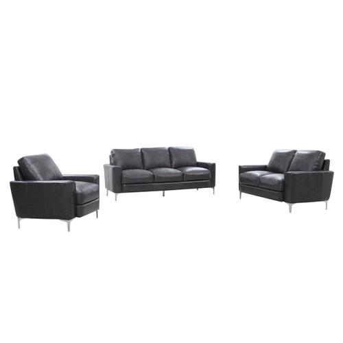 Divani Casa Empire Modern Dark Grey Leather Sofa Set