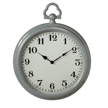 Grey Enamel Pocket Watch Wall Clock