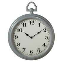 Grey Enamel Pocket Watch Wall Clock