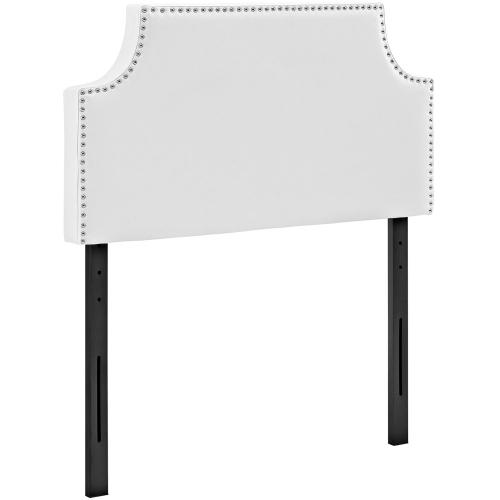 Laura Twin Upholstered Vinyl Headboard in White