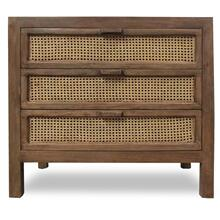 EASTON CHEST  36in w. X 33in ht. X 16in d.  Solid Mango Wood Three Drawer Chest with Woven Cane Pa