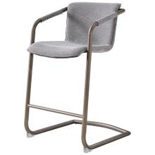 Indy Fabric Counter Stool Silver Frame, Sage Gray/Velvet Gray