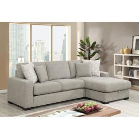Brahms Sofa Chaise W/storage, Gray