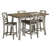 Fairhaven Counter Height Table and Four Chairs Set, Grey