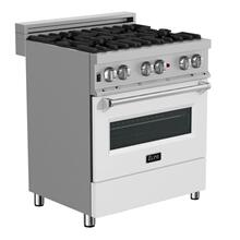 ZLINE 30 in. Professional Dual Fuel Range in DuraSnow® Stainless Steel with White Matte Door (RAS-WM-30)