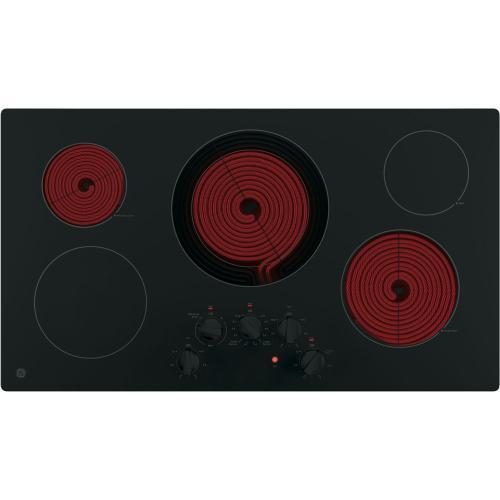 "GE 36"" Radiant Electric Cooktop Black JP3036DLBB"