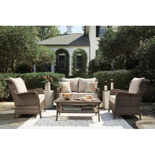 Gallery - Outdoor Loveseat and 2 Chairs With Coffee Table