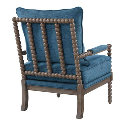 Fletcher Spindle Chair In Navy Fabric With Brush Charcoal Finish