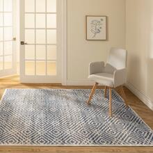 See Details - Avilla - Aged Diamonds Area Rug, Beige and Blue, 5' x 7'