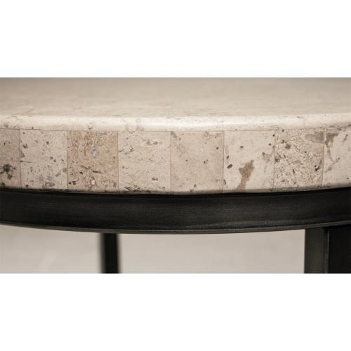 Capri - Round Side Table - Alabaster Travertine Finish