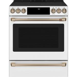 "Cafe AppliancesCaf(eback) 30"" Smart Slide-In, Front-Control, Radiant and Convection Range"