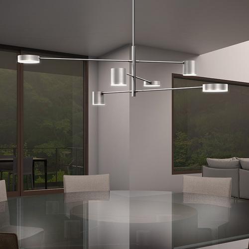 Sonneman - A Way of Light - Counterpoint LED Pendant [Size=6-Light Linear, Color/Finish=Bright Satin Aluminum]