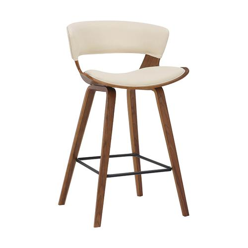 """Jagger 26"""" Counter Height Stool with Walnut Finish and Cream Faux Leather"""