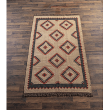Red, Navy & Cream Tribal 5' x 8' Kilim Rug