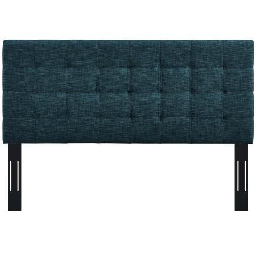 Paisley Tufted Twin Upholstered Linen Fabric Headboard in Azure