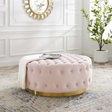 Ensconce Tufted Performance Velvet Round Ottoman in Pink