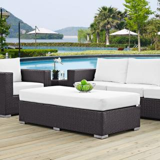 Convene Outdoor Patio Fabric Rectangle Ottoman in Espresso White