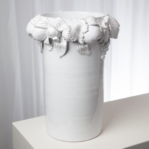 Della Robbia Vase-Antique White