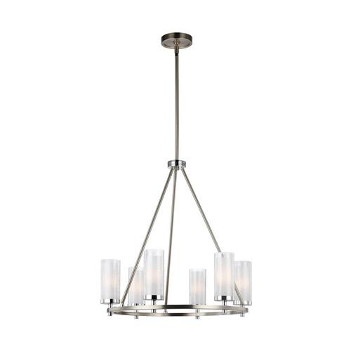 Jonah Medium Chandelier Satin Nickel / Chrome Bulbs Inc