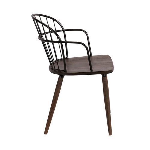 Bradley Steel Framed Side Chair in Black Powder Coated Finish and Walnut Glazed Wood