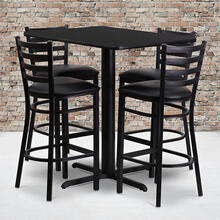 24''W x 42''L Rectangular Black Laminate Table Set with Ladder Back Metal Barstool and Black Vinyl Seat, Seats 4