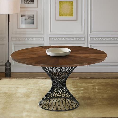 "Cirque 54"" Round Walnut Wood and Metal Pedestal Dining Table"