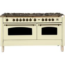 Nostalgie 60 Inch Dual Fuel Natural Gas Freestanding Range in Antique White with Bronze Trim