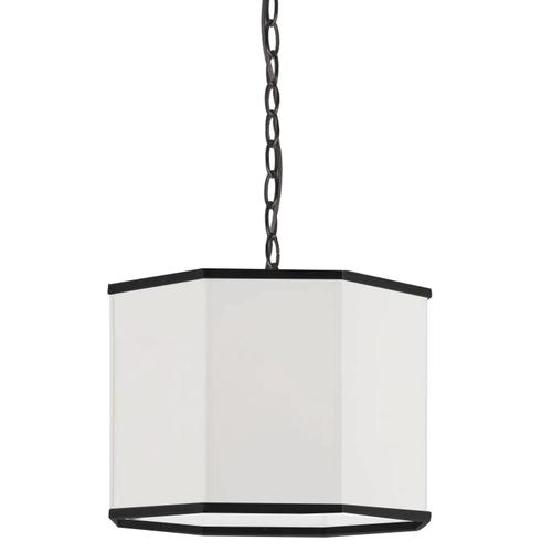 Product Image - 1lt Pendant, Mb W/ Wh Shade and Bk Trim