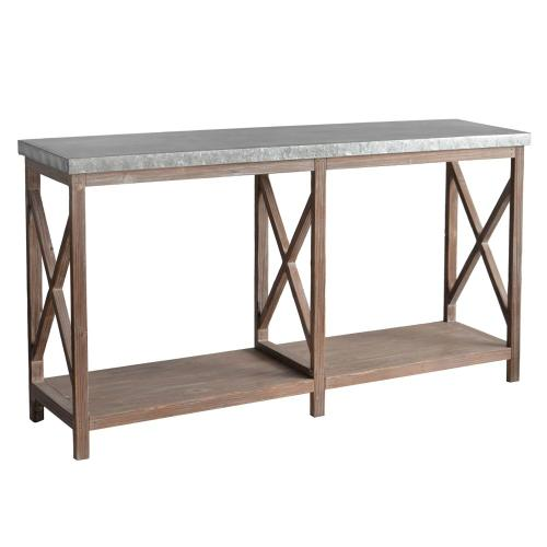 Crestview Collections - Newhart Rustic Wood and Galvanized Metal Console