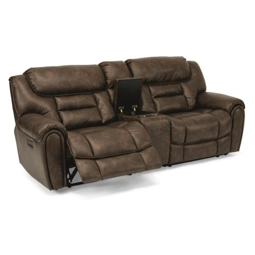 - Buster Power Reclining Loveseat with Console and Power Headrests