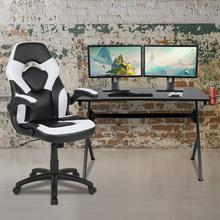 Black Gaming Desk and White\/Black Racing Chair Set with Cup Holder, Headphone Hook & 2 Wire Management Holes