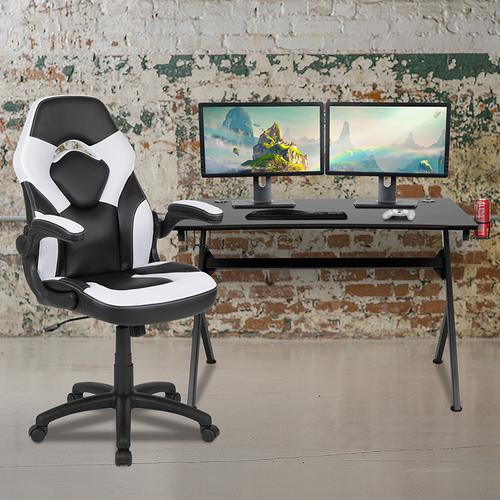 Gallery - Black Gaming Desk and White\/Black Racing Chair Set with Cup Holder, Headphone Hook & 2 Wire Management Holes