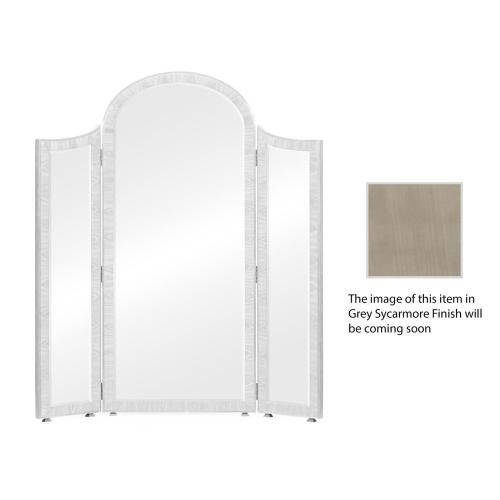 Opera Art Deco style full length triple dressing mirror with stainless steel detail