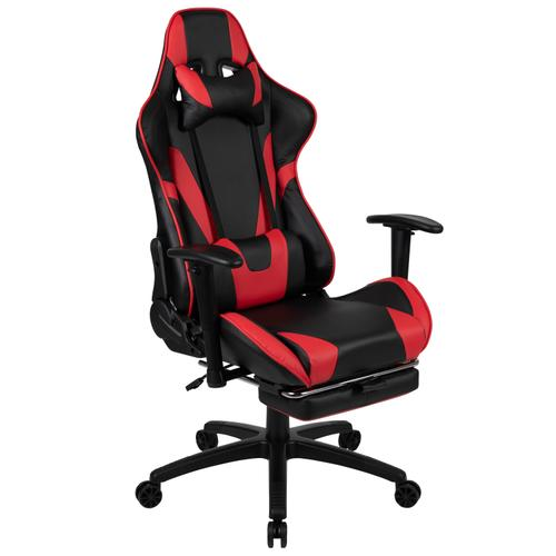 Gallery - Gaming Desk and Red Footrest Reclining Gaming Chair Set - Cup Holder\/Headphone Hook\/Removable Mouse Pad Top\/Wire Management