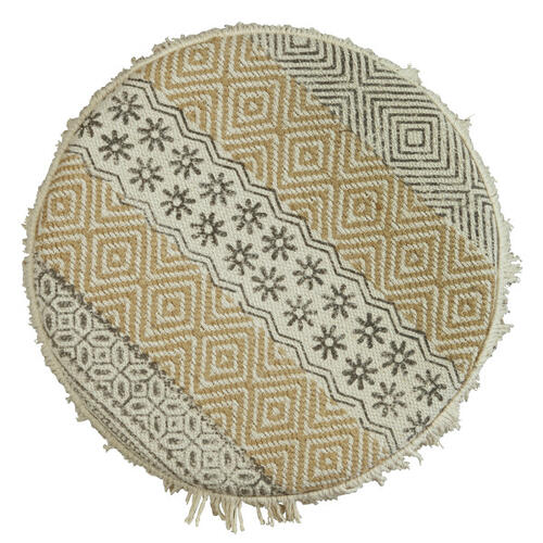Column Pouf Ottoman in Beige Gray Geo Pattern