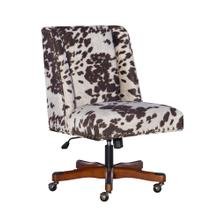 Upholstered Office Chair With Casters, Tan