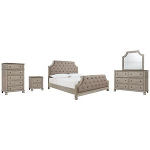 Ashley - King Upholstered Panel Bed With Mirrored Dresser, Chest and Nightstand