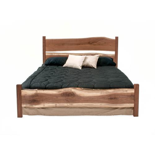 Denver Bed With Wood Legs - All Walnut - Queen Headboard Only