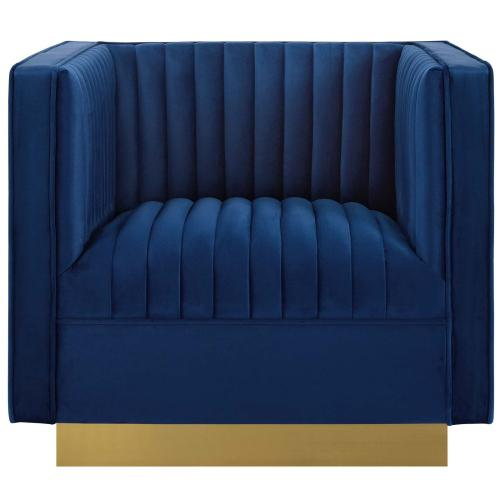 Sanguine Vertical Channel Tufted Accent Performance Velvet Armchair in Navy