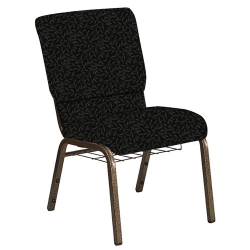 Flash Furniture - 18.5''W Church Chair in Jasmine Pewter Fabric with Book Rack - Gold Vein Frame