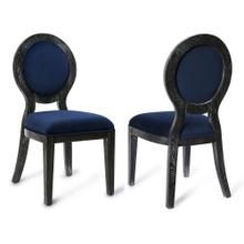Cerused Oak Navy Chair-Set of 2