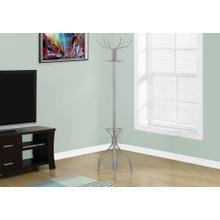 """See Details - COAT RACK - 70""""H / SILVER METAL WITH AN UMBRELLA HOLDER"""