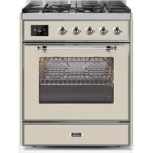 Majestic II 30 Inch Dual Fuel Natural Gas Freestanding Range in Antique White with Chrome Trim