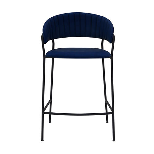 "Nara 26"" Modern Counter Height Bar Stool with Black Metal Finish and Blue Faux Leather"