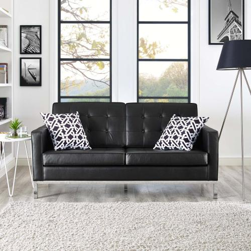 Loft Leather Loveseat in Black