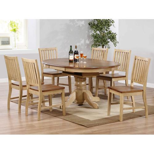 Product Image - Round or Oval Butterfly Leaf Dining Set w/Slat Back Chairs (7 piece)