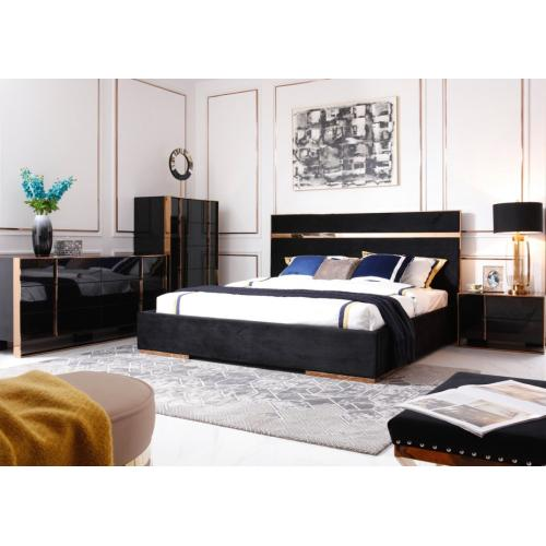 Vgvccartierset In By Vig Furniture In Neptune Nj Nova Domus Cartier Modern Black Rosegold Bedroom Set