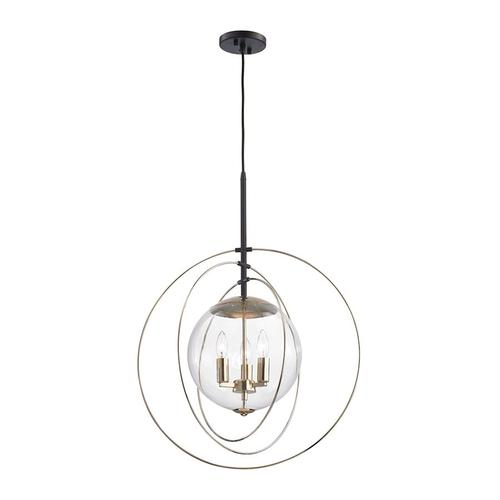 Zonas 3-Light Chandelier in Oil Rubbed Bronze and Polished Gold with Clear Glass